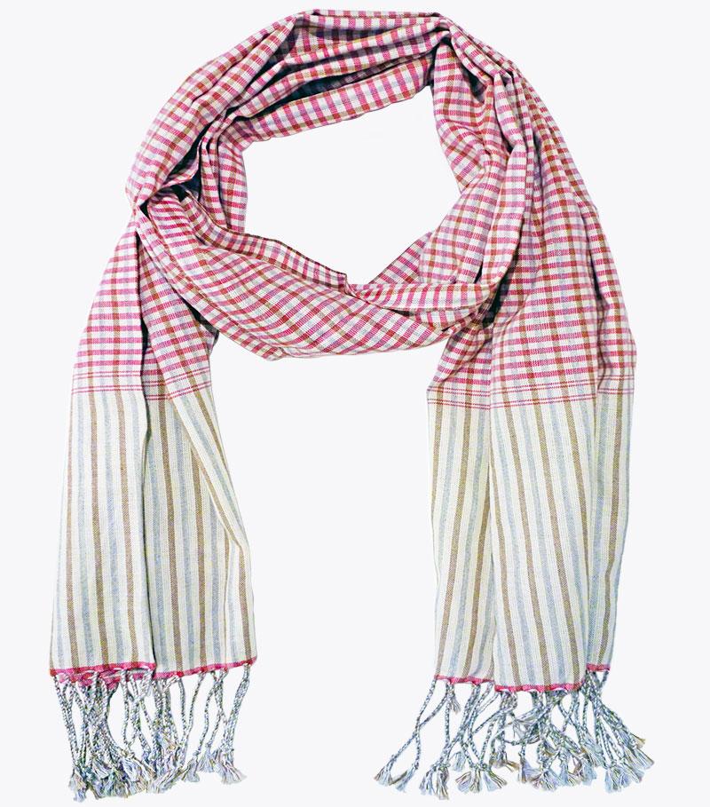Schal krama traditionell rosa Rubin