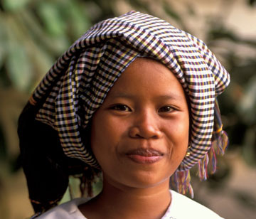Cambodian woman wearing her Krama
