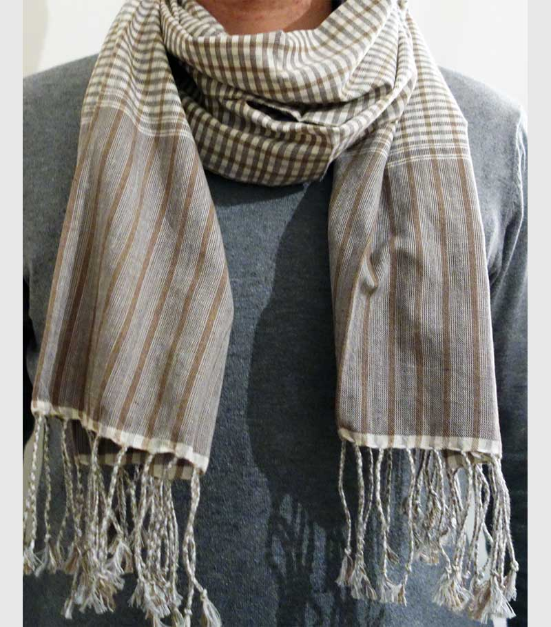 krama scarf cambodia brown