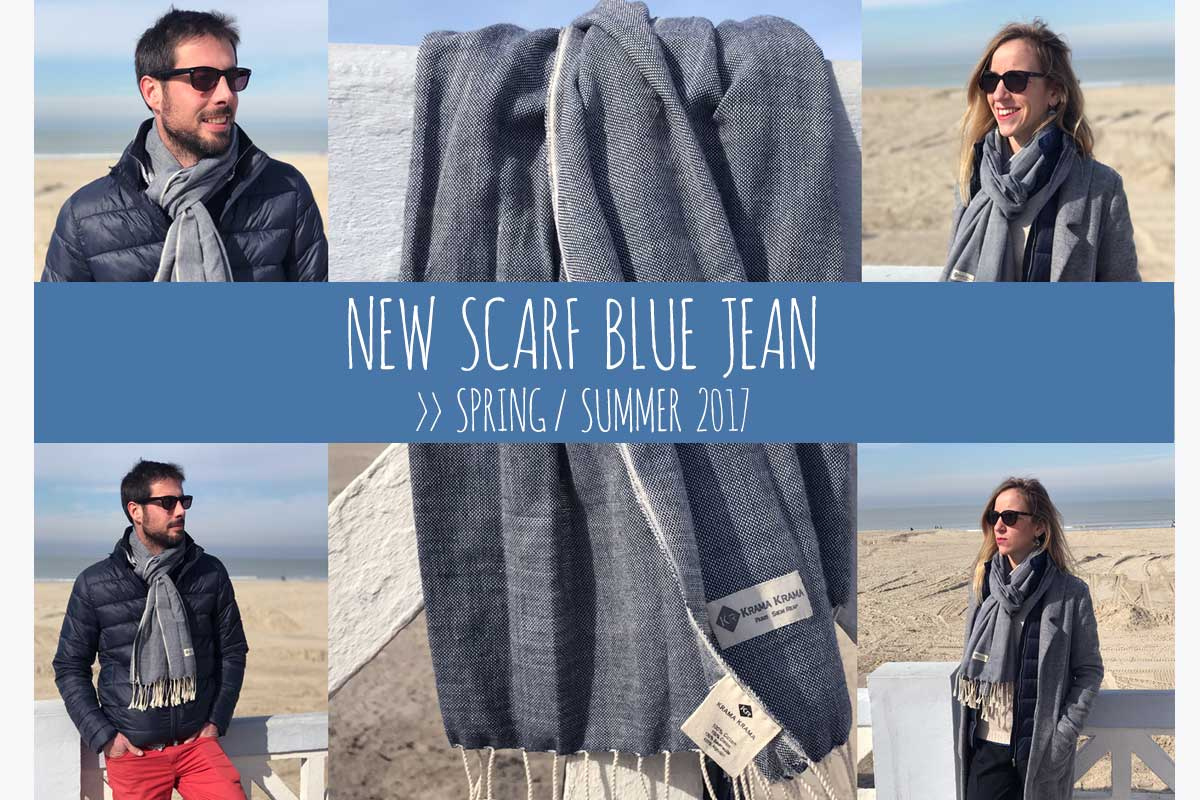 New scarf from Cambodia : krama blue Jean