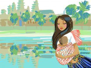Krama pour porter le bébé